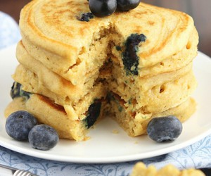 blueberry, dessert, and pancake image