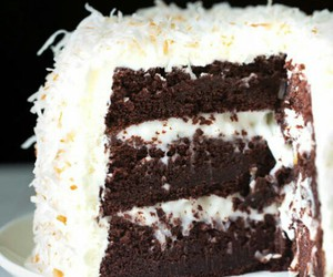 cake, chocolate, and coconut image
