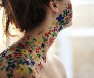 girl, flowers, and paint image