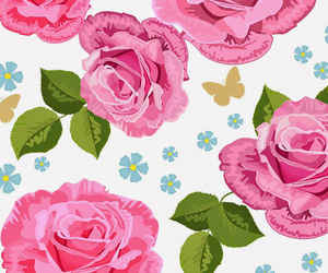 flowers, butterfly, and rose image