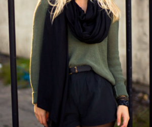 black, blonde, and scarf image