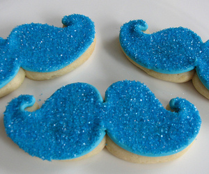 blue, mustache, and Cookies image