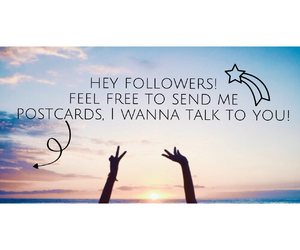 postcard, followers, and talk image