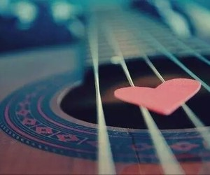 guitar, heart, and love image