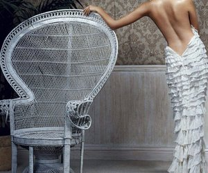armchair, girl, and Hot image