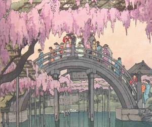 bridge, wisteria, and japanese image