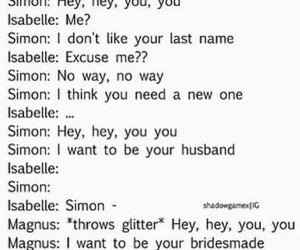 simon lewis, isabelle lightwood, and sizzy image