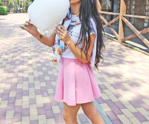 brunette, candy floss, and fashion image