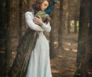 enchanted forest, fantasy, and peacock image