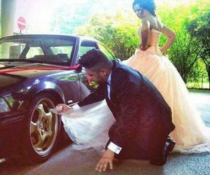 car, love, and bride image