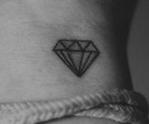 black and white, Tattoos, and diamond image
