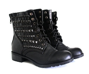 black, leather, and combat boots image