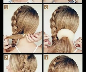 braided, bun, and hairstyle image