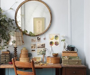 desk, mirror, and vintage image