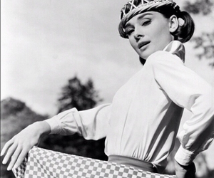 audrey hepburn, b&w, and love in the afternoon image