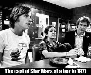carrie fisher, george lucas, and harrison ford image