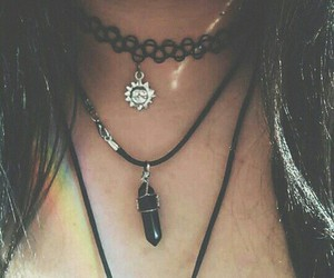 choker, grunge, and rainbow image