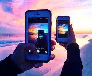 iphone, beach, and phone image