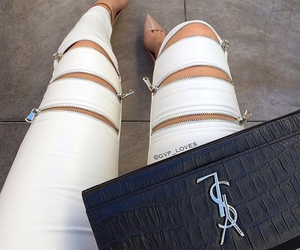 bag, high heels, and toes image