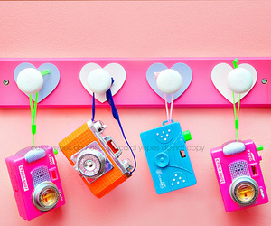 camera, colorful, and pink image