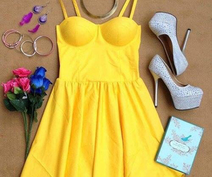 dress, fashion, and yellow image