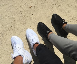 white, black, and sneakers image