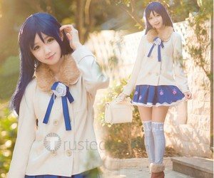 blue hair girl cosplay, blue skirt cosplay, and love live cosplay image