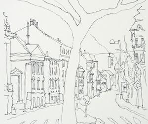 street, inkdrawing, and tree image