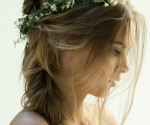 flower, hair, and pigtail image