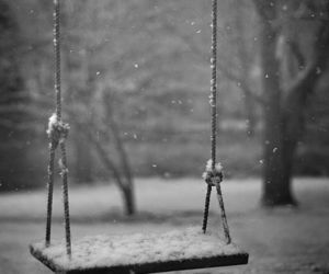 snow, alone, and black and white image