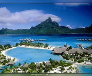bora bora, beach, and paradise image