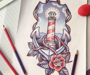 draw, lighthouse, and ink image