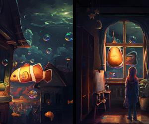 art, bathroom, and water image