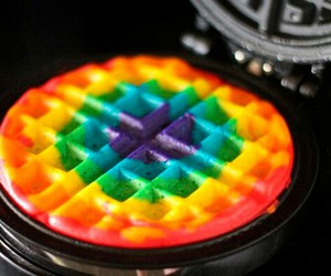 waffles, rainbow, and food image
