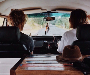 boys, car, and road image