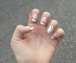 black and white, french, and nail art image