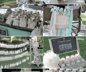 blue, green, and wedding decoration image