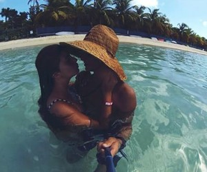 beach, couple, and holidays image
