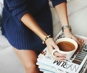 coffee, magazine, and sweater image