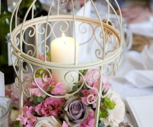 candle, flowers, and wedding image