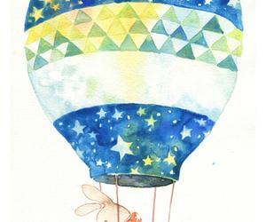 airship, bunny, and watercolour image