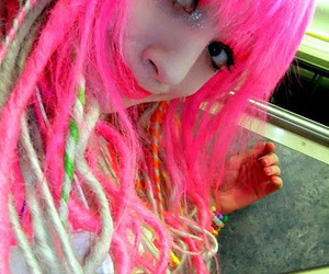 colorful hair, cyber, and pink hair image