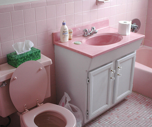pink, bathroom, and pale image