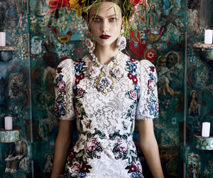 fashion, flowers, and model image