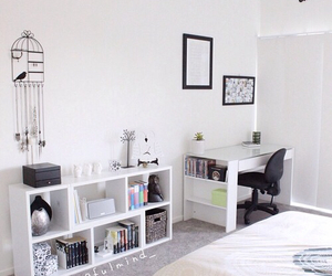 white, bedroom, and desk image