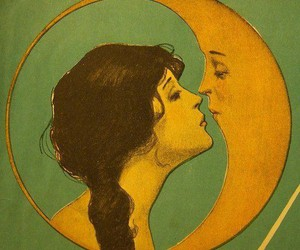 moon, kiss, and art image