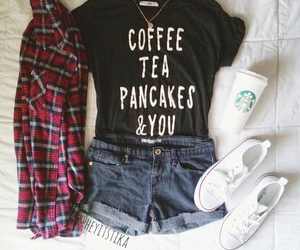 black, clothes, and starbucks image