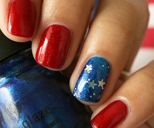 nails, 4th of july, and blue image