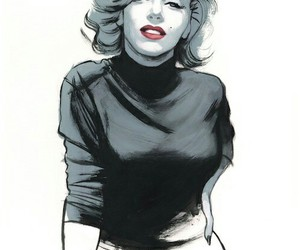 art, drawing, and Marilyn Monroe image