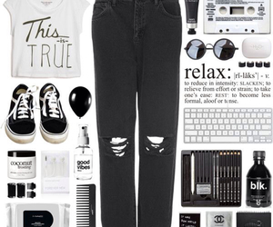 fashion, black and white, and clothes image